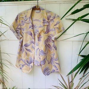 vintage vsco 90s floral lavender button up popover